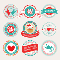 Wall Mural - Valentine`s Day set - labels and emblems. Vector illustration.
