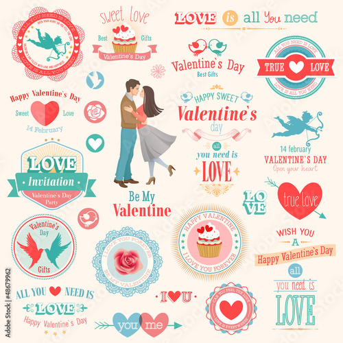 Wall mural Valentine`s Day set - labels, emblems and other elements.