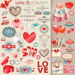 Wall Mural - Valentine`s Day set - vintage design elements.