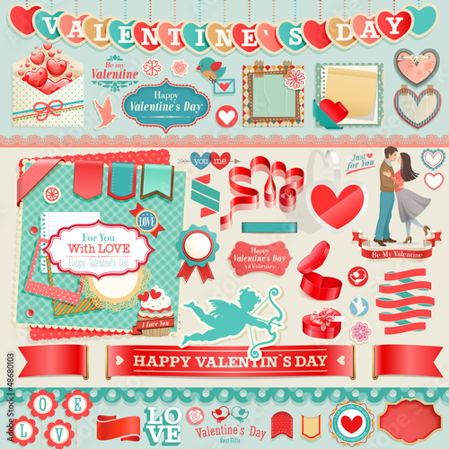 Wall mural Valentine`s Day set