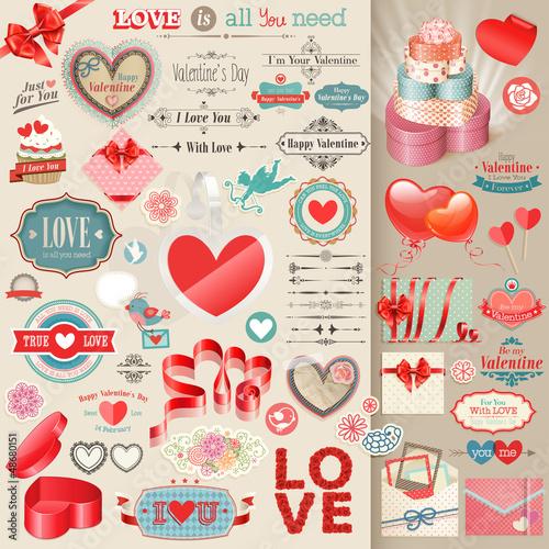 Wall mural Valentine`s Day set - vintage design elements.
