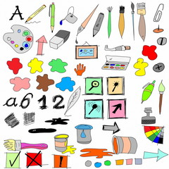 doodle drawing equipment and Icons