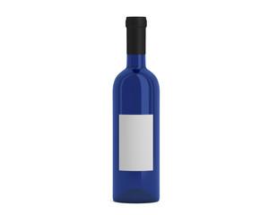 Weinflasche blau mit Etikett klein