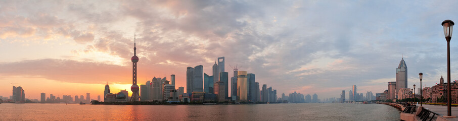 Wall Mural - Shanghai morning skyline silhouette