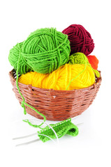 Colorful yarn and needles for knitting