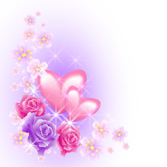 Pink hearts with flowers