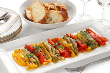 escalivada, grilled marinated vegetables, spanish cuisine