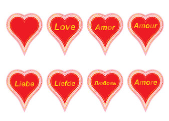 set of valentines with word love in several languages