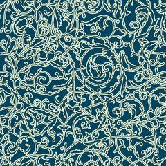 Vintage seamless pattern of weaving plants