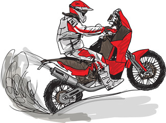 La pose en embrasure Motocyclette Abstract sketch of biker. Vector Illustration