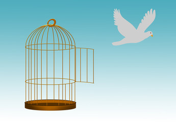 Deurstickers Vogels in kooien Gilded cage escape concept, freedom metaphor