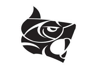 Tiger head silhouette - black concept
