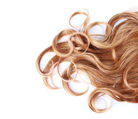 curly brown hair over white background