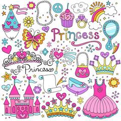 Princess Fairy tale Tiara Notebook Doodles Vector Set