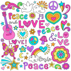 Peace Love Music and Dove Notebook Doodles Vector Set