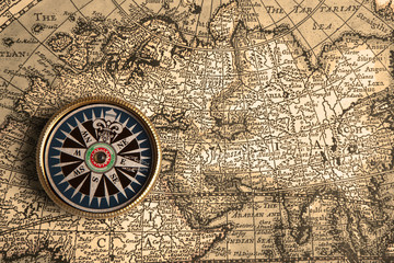 Wall Mural - Vintage compass and old map