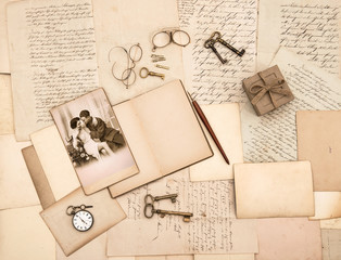 old letters, vintage accessories, diary and photo
