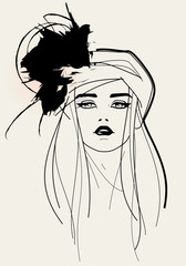 Fashion model face / elegant look