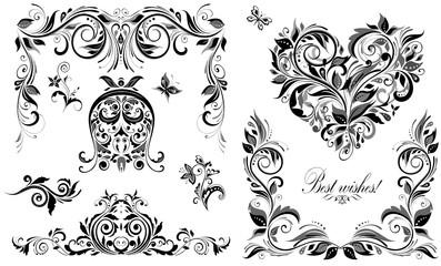 Vintage wedding design elements for invitations