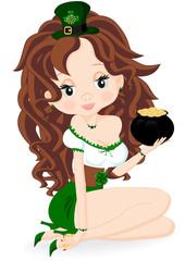 Tuinposter Feeën en elfen Girl with a pot of coins
