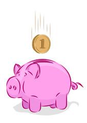 Vector piggy bank, saving concept