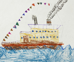 Kid's Drawing of a Passenger Ship in The Sea