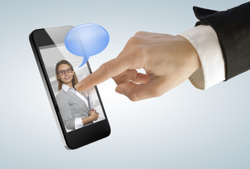 Businesswoman touching a picture screen on digital smart phone