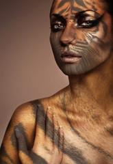 close up portrait of tiger woman