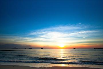 Beautiful sunset on coast of Chang island.