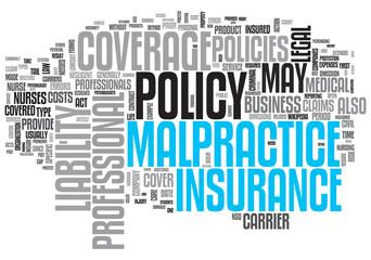 Malpractice Insurance Design Word Cloud on White Background