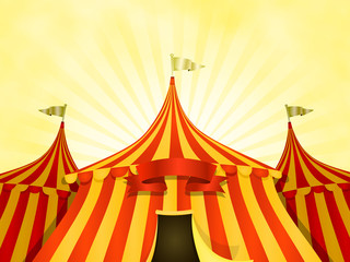 Big Top Circus Background With Banner