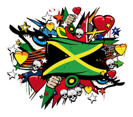 Jamaica flag jamaican graffiti flag street art illustration
