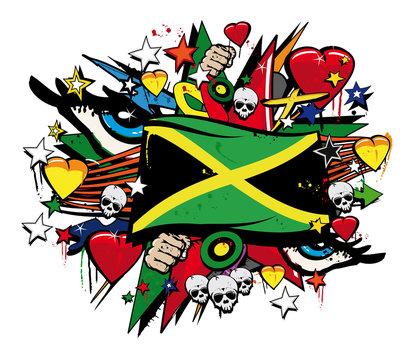 Jamaica flag jamaican graffiti flag street art illustration