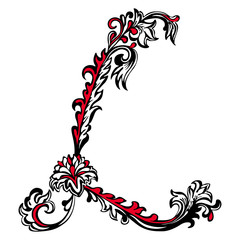 Initial letter L on a white background
