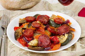 fried sausages with vegetables on the plate