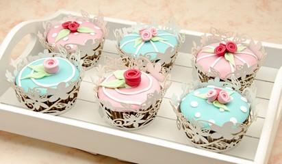 Fototapete - Cupcakes de san valentin