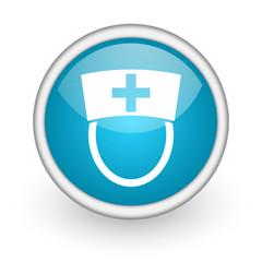 nurse blue glossy icon on white background