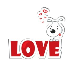 "Funny dog sitting on the red word ""love"". Sticker."