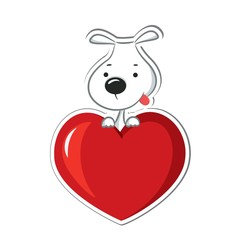 A funny dog sitting on the red heart. Sticker.
