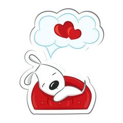 Sleeping dog in love.Sticker. Vector illustration