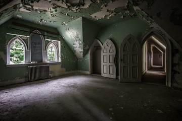Old Hallway in the Abandoned Castle
