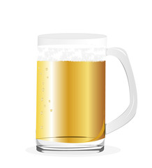 illustration of beer glass on white background