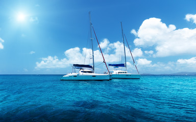 Wall Mural - Yacht Sailing on water of ocean