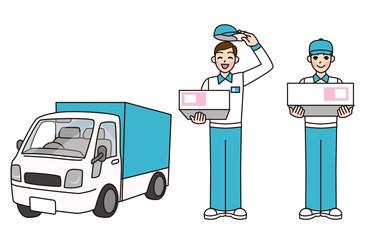 宅配の男性と軽トラック