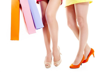 Legs of shoppers