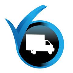 Fototapete - camion de livraison sur bouton validé bleu
