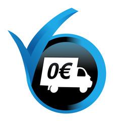 Fototapete - livraison gratuite sur bouton validé bleu