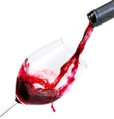 Fototapete - Rotwein in Glas einschenken