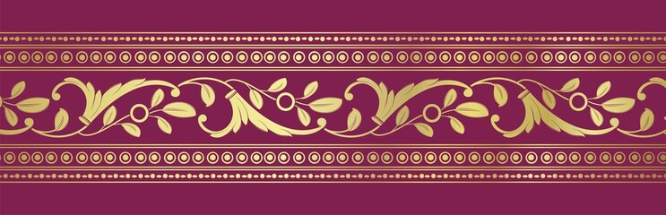 paisley floral border, textile , Rajasthan, royal India