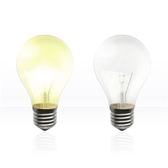 Realistic light bulb in the floor. Vector background design.